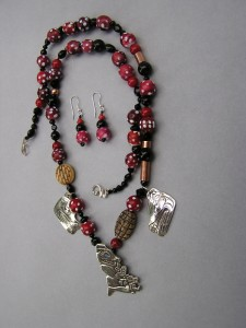 Bear Mother Necklace made with Venetian Fancy, Cornaline d'Aleppo beads
