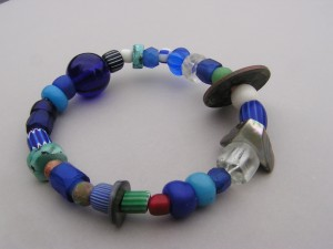 Bracelet with various trade beads and blue Gooseberries