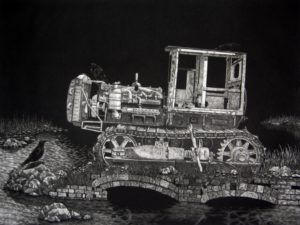 Bulldozer Mezzotint by Chris Nowicki