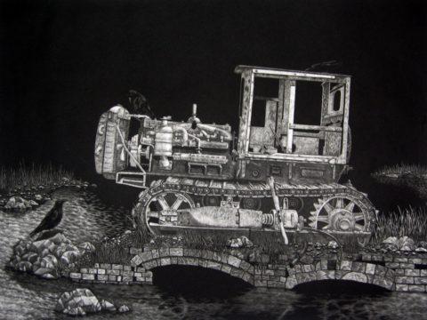 Bulldozer Mezzotint by Chris Nowicki