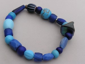 Trade Bead Bracelet made with Sky Blue Padres, Blue Russians, Chevrons and Venetian Fancy beads