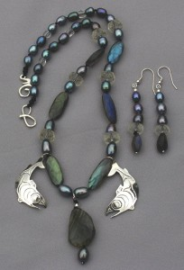Photo of the Rain-Spawn-Salmon Trade Bead Necklace with Sterling Salish Salmon pendants