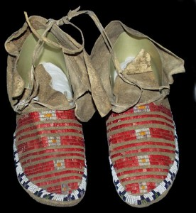 Shoshone Moccasins from 1922 with quill work and seed beads