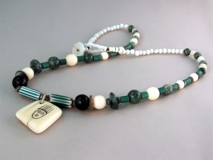 Trade Bead Necklace with Fossil Walrus Ivory Pendant