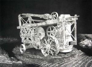 Steam Drill Mezzotint by Chris Nowicki