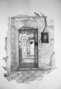 White Door Drawing